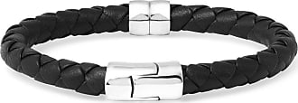 Bottega Veneta Intrecciato Leather And Silver Bracelet - Black