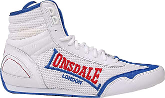 Lonsdale Mens Contender Boxing Boots Mid Lace Up Breathable Lightweight Mesh White/Blue UK 12 (47)