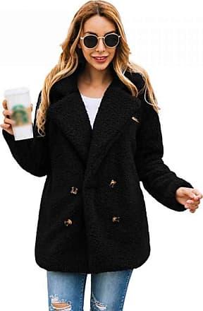 YYW Womens Winter Lapel Coat Fleece Fuzzy Faux Shearling Button Warm Winter Oversized Outwear with Pockets (Black,XXL)