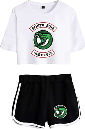 OLIPHEE Inspired Riverdale Jughead Jones Athleisure Tracksuits Crop Top T-Shirts and Shorts Southside Serpents Printed Suit for Women 4890 White-2 Black XS