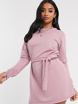 Missguided exclusive sweater dress with tie waist in pink