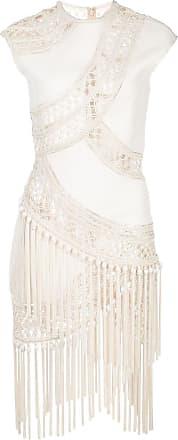 Oscar De La Renta topstitching fringed dress - White
