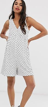Asos Maternity ASOS DESIGN Maternity curved smock playsuit in white spot print-Multi
