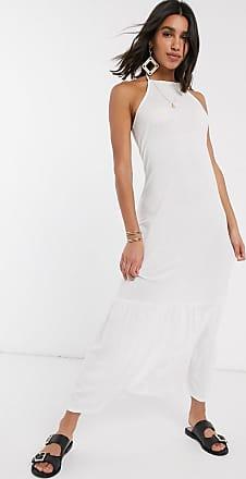 Asos Lange jurk met vierkante halternek en strook in wit