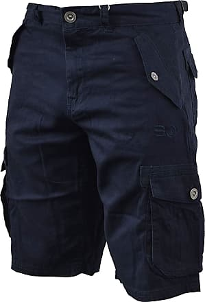 Crosshatch Mens Thorley Designer Cargo Combat Chino Shorts Navy W32