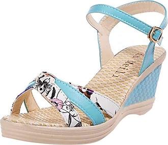 QUINTRA Ladies Women Wedges Shoes Summer Sandals Platform Toe High-Heeled Shoes Blue White Pink (3.5 UK, Blue)
