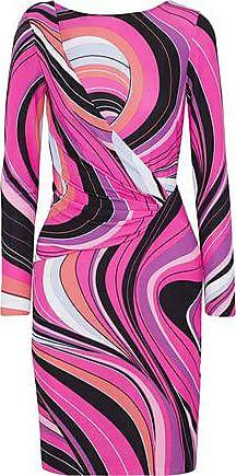 Emilio Pucci Emilio Pucci Woman Wrap-effect Printed Jersey Mini Dress Fuchsia Size 40
