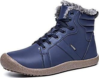 Santimon Herren Damen Schneestiefel Faux Leder Wasserdicht Schnüren  Knöchelhoch Winter Stiefel Schuhe Warm Gefütterte Boots Santimon b1b304f4b5