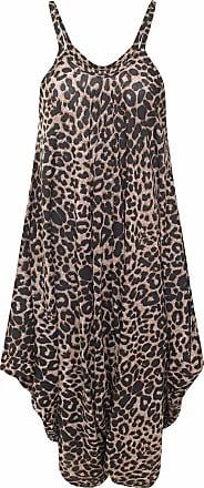 Islander Fashions Women Sleeveless Strappy Printed Lagenlook Romper Jumpsuit Ladies Fancy Cami Baggy Harem Playsuit Dress Brown Leopard Large/X Large