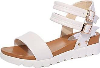 Transer Damen Sandalen Keilabsatz Künstliches PU+Gummi 2 Knöpfe Ankle-strap  Schwarz Weiß Sandalen 1f0177eaea