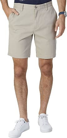 Nautica Mens Classic Fit Flat Front Stretch Solid Chino Deck Short Casual, True Khaki, 38