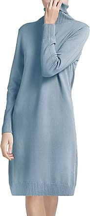 TOMWELL Womens Long Sleeve High Polo Neck Knitted Jumper Mini Tunic Sweater Dress Top Blue One Size(UK 6-14)