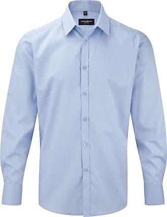 Russell Athletic Russell Mens Herringbone Long Sleeve Work Shirt (17.5) (Light Blue)