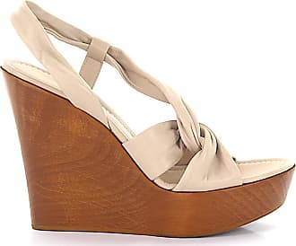 Gianvito Rossi Sandals calfskin smooth leather wood beige-combo brown
