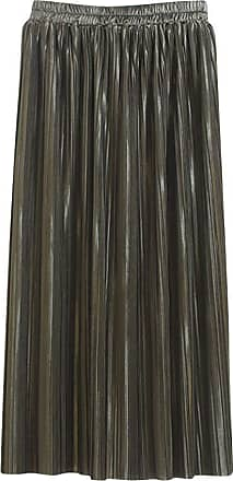 Yonglan Womens Long Skirt High Waist Thin Solid Color Metallic Luster Fashion Pleated Skirt Army Green