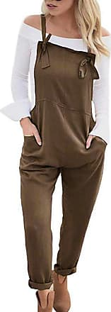 TOMWELL Women Loose Overall Strap Sleeveless Long Playsuit Jumpsuit Dungarees Brown UK 14
