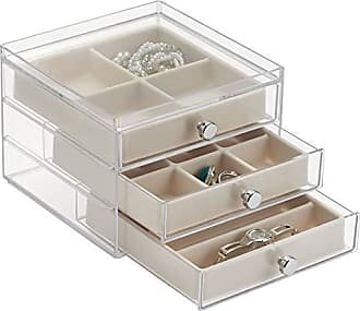 InterDesign Plastic 3 Jewelry Box, Compact Storage Organization Drawers Set for Cosmetics, Hair Care, Bathroom, Dorm, Desk, Countertop, Office, 6.5 x 7 x 5, Clear and Ivory White