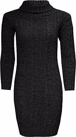 New Ladies Long Sleeve Knitted Polo Neck Skull Winter Jumper Top Dress UK 8-22