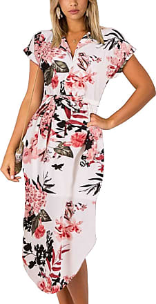 Yoins Summer Dresses Floral for Women Self-tie V-Neck Short Sleeves Split Casual Long Skirt Maxi Dresses