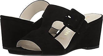 Anne Klein Womens NILLI Dress Sandal Wedge, Black Suede, 6.5 M US