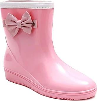 Daytwork Women Rain Boots - Fashion Casual Waterproof Jelly Slip on Wellies Wellington Anti-Slip Snow Garden Booties Warm Removable Lining Water Shoes Pink