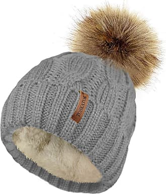 TOSKATOK Ladies Chunky Soft Cable Knit hat with Cosy Fleece Liner and Detachable Faux Fur Pompom-Grey