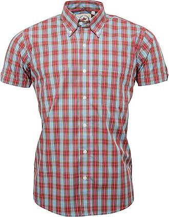 Relco Mens Light Sky Blue Check Short Sleeve Shirt with Button Down Collar Mod Tartan Retro - X-Large