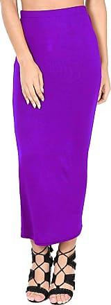 Be Jealous Womens Ladies Plain Stretchy Pencil Tube Bodycon Long Line Jersey Midi Skirt Purple