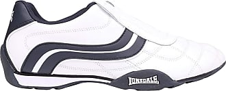Lonsdale Mens Camden Slip Trainers Low On Breathable Leather Upper Perforated White/Navy UK 8.5 (42.5)