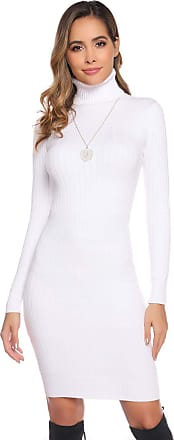 Abollria Womens Turtle Neck Long Sleeve Chunky Cable Knitted Bodycon Knitted Jumper Knitwear Sweater Dress White