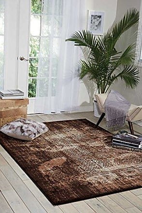 Nourison Karma (KRM01) Latte Rectangle Area Rug, 9-Feet 3-Inches by 12-Feet 9-Inches (93 x 129)
