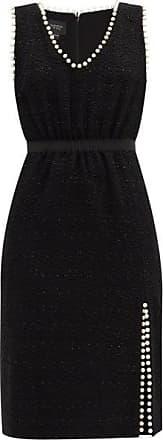 Giambattista Valli Faux Pearl-trimmed Cotton-blend Tweed Midi Dress - Womens - Black