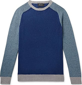 Howlin Colour-block Lambswool And Cotton-blend Sweater - Blue