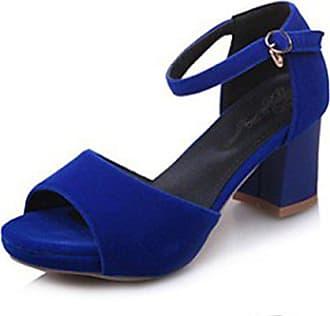 6ba21d3e6c6b10 Easemax Damen Nubukleder Offen Knöchelriemchen High Heel Sandalen Mit  Schnalle Blau 38 EU