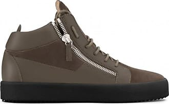 Giuseppe Zanotti Brown suede and calfskin mid-top sneaker KRISS