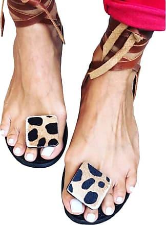 junkai Juleya Women Sandal Shoes Comfy PU Leather Flat Sandals Post Toe Leopard Flip Flops Shoes - Summer Beach Travel Shoes for Shopping Beach Holiday Brown