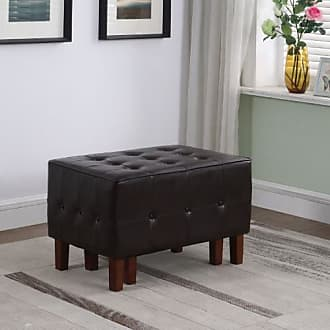 ORE Ore International Allover Leatherette Tufted Stacking Ottomans