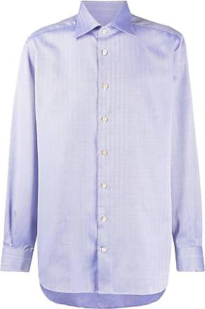 Kiton spread-collar herringbone shirt - Blue