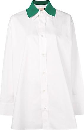 Plan C Camisa oversized com gola contrastante - Branco
