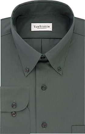Van Heusen mens13V0113Dress Shirts Regular Fit Silky Poplin Solid Button-Down Collar Long Sleeves Dress Shirt - Green - XXL