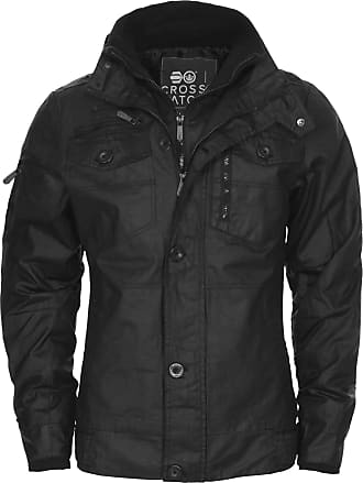 Crosshatch NEW MENS CROSSHATCH PLIXXIE JACKET PADDED DESIGNER BLACK RIBBED WINTER ZIP COAT[Black,XL]