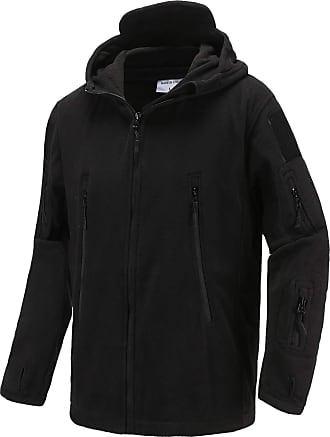 iClosam Mens Windproof Warm Military Tactical Fleece Jacket with Hood Black