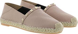 Valentino Espadrilles - Flats Leather Poudre Nero - rose - Espadrilles for ladies
