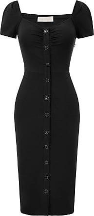 Belle Poque Womens Vintage 1950s Front Pleated Off The Shoulder Mermaid Dress Knee Length Black 01 L