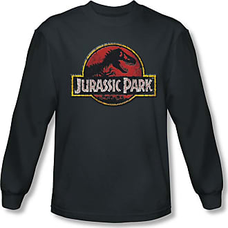 2a537b0b0b622 Jurassic Park Mens Stone Logo Long Sleeve Shirt In Charcoal