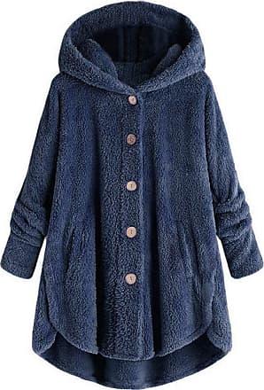 Yvelands Hooded Coat Women Long Winter Faux Fleece Teddy Bear Outwear Button Hoodies Jacket Sweatshirt Long Sleeve Fleece Pullover Jumper Outwear Plus Size