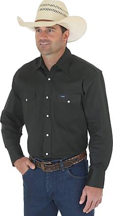 Wrangler Mens Western Work Shirt Firm Finish - Green (Black Forest Green) - X-Large