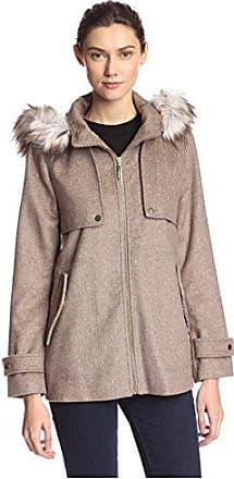 Kensie Womens Hooded Coat with Faux Fur, Taupe, M