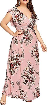 FNKDOR Holiday Traveling Style Plus Size Women Beach Dating Slim Casual Short Sleeve Cold Shoulder Boho Flower Print Long Shift Dress Skirt(W-Pink,UK-28/CN-5