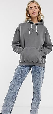 Reclaimed Vintage inspired overdyed hoodie with script logo in snow grey